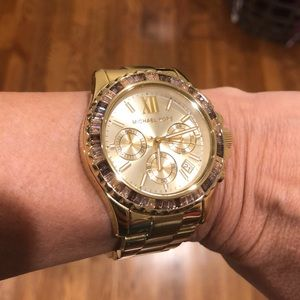 Michael Kors gold watch with stones around face